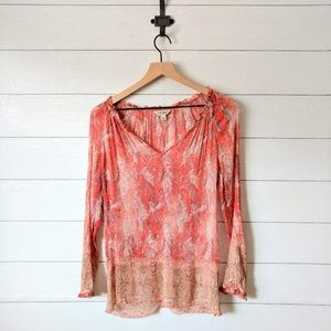 Lucky Brand Semi-Sheer Paisley Tunic Blouse L